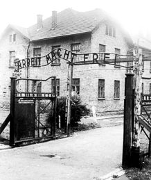 Entrance gate to Auschwitz II-Birkenau. Administration building likely on the left. Photo by anonymous (c. 1955). German Federal Archives. Bundesarchiv, Bild 183-32279-007/CC-BY-SA 3.0. Wikimedia Commons.