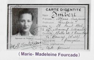 War-time identity card of Marie Suzanne Umbert (real name: Marie-Madeleine Fourcade). Photo by anonymous (date unknown).
