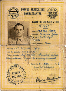Card issued in 1948 identifying François Marquier (1912−1973) as a member of the Réseau Alliance. Notice it has been signed by Marie-Madeleine in the lower right corner. Photo by Rmarquier (2010). PD-Creative Commons Attribution-Share Alike 3.0 Unported. Wikimedia Commons.
