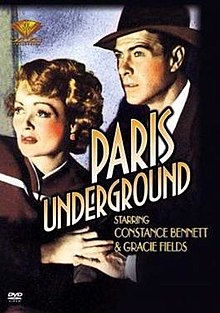 "Studio poster for the movie ""Paris-Underground."" Photo by anonymous (c. 1945)."