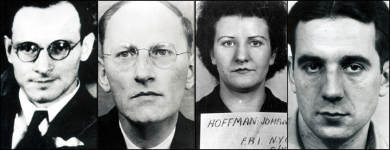 Photos of Nazi spies captured by the FBI. Johanna Hoffmann is second from the left. Photos by anonymous (c. 1939). Federal Bureau of Investigation. PD-U.S. Government.